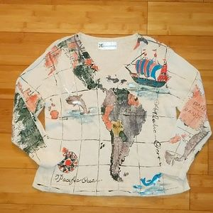 Marguerita hand painted map sweater small medium
